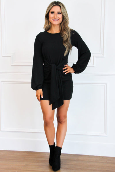 Tied Up in You Sweater Dress: Black - Bella and Bloom Boutique