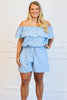 Ready to Go Chambray Romper: Light Blue - Bella and Bloom Boutique