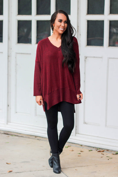 Let it Go Sweater: Burgundy - Bella and Bloom Boutique