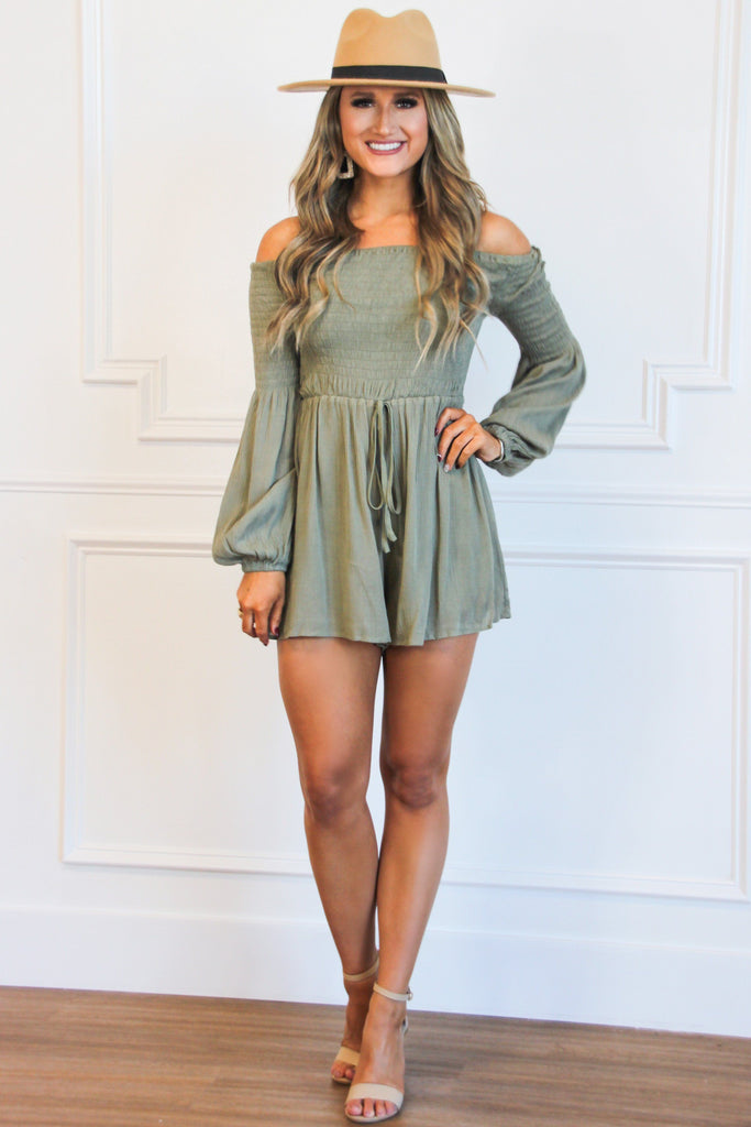Wishing For Fall Romper: Olive - Bella and Bloom Boutique