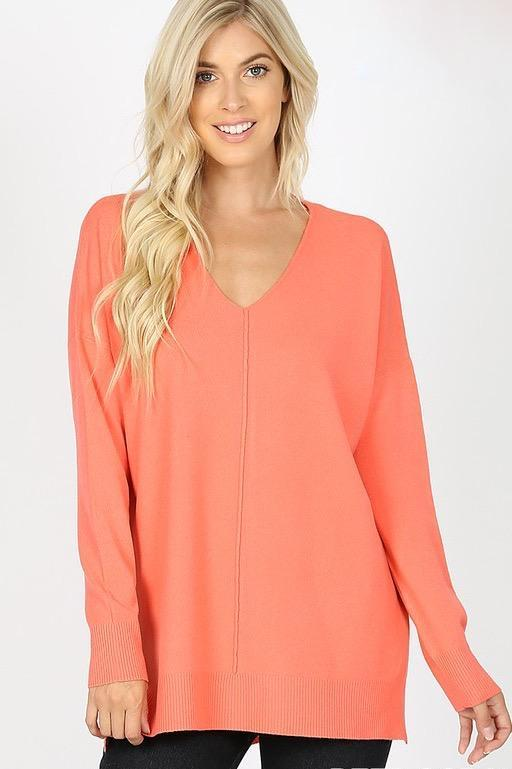 RESTOCK: Closet Essential Sweater: Coral - Bella and Bloom Boutique