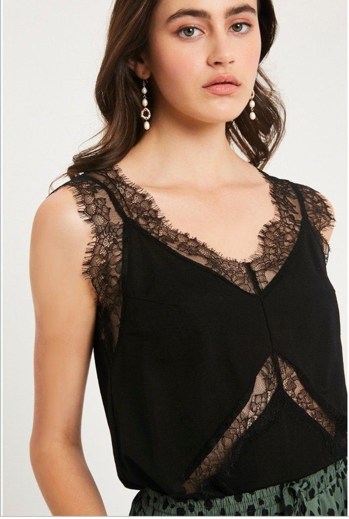 Sultry Lace Cami: Black - Bella and Bloom Boutique