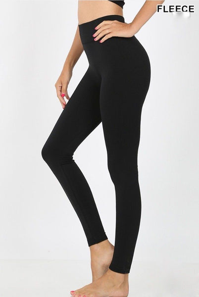 Classic Seamless Fleece Leggings: Black - Bella and Bloom Boutique