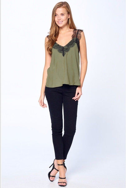 Sweet Lace Cami: Olive - Bella and Bloom Boutique