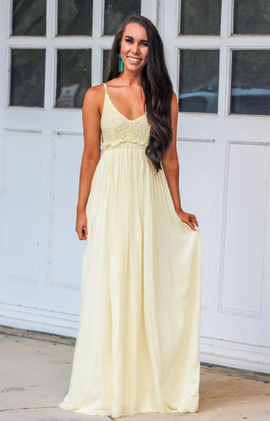 Love Me Tender Maxi Dress: Pastel Yellow