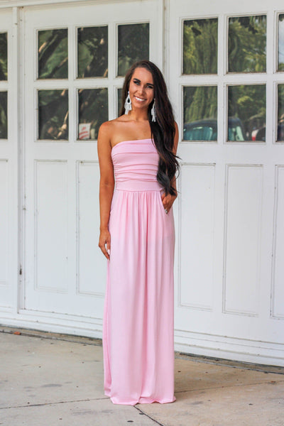 Fall Basic Maxi Dress: Light Pink