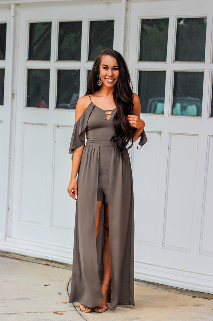 Fall Goddess Maxi Romper: Olive - Bella and Bloom Boutique