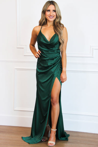 She's a Gem Cowl Neck Formal Dress: Emerald