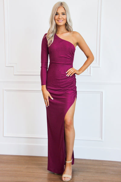 Side Surprise Maxi Dress: Magenta