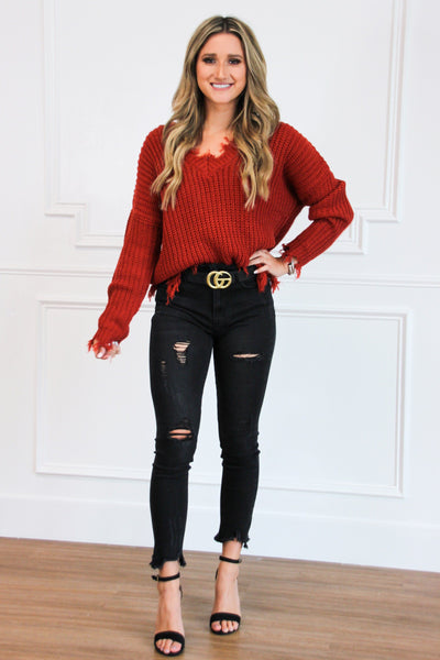 Distressed Essential Sweater: Rust - Bella and Bloom Boutique