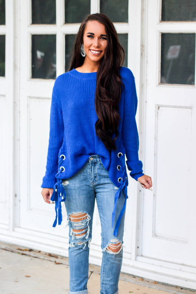 Made Me Who I Am Sweater: Royal Blue - Bella and Bloom Boutique