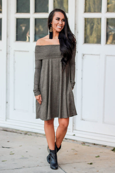 Olive You More Sweater Dress: Olive - Bella and Bloom Boutique