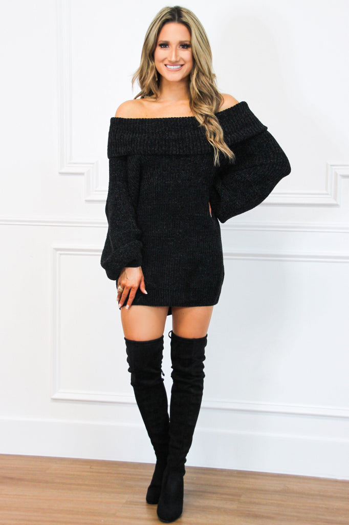 Very Fall Chenille Sweater Tunic: Black - Bella and Bloom Boutique