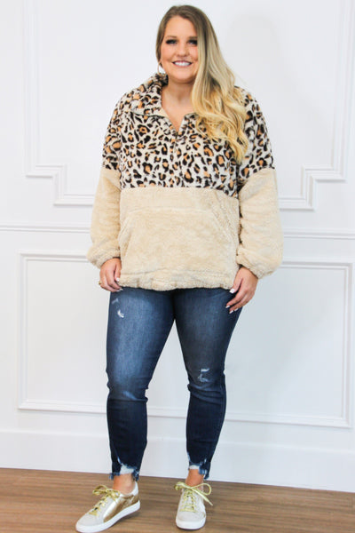 Fuzzy Camo Pullover: Leopard - Bella and Bloom Boutique