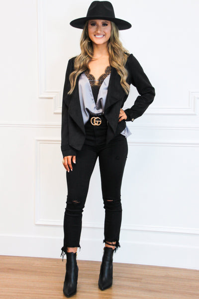 Take Me Back Suede Lapel Jacket: Black - Bella and Bloom Boutique