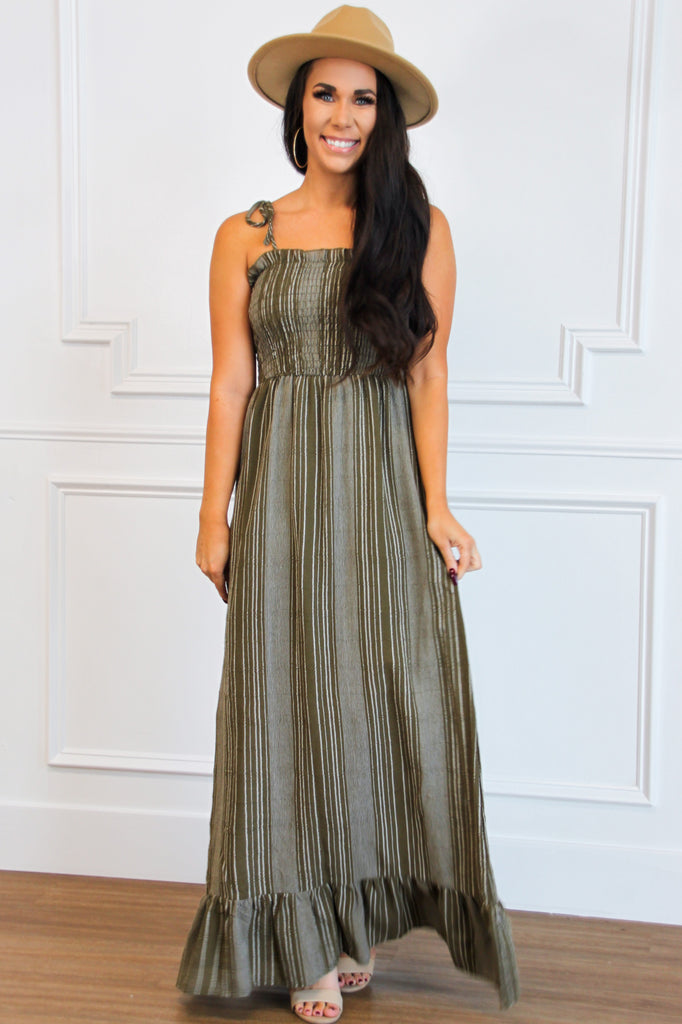 Autumn Breeze Smocked Maxi Dress: Olive - Bella and Bloom Boutique