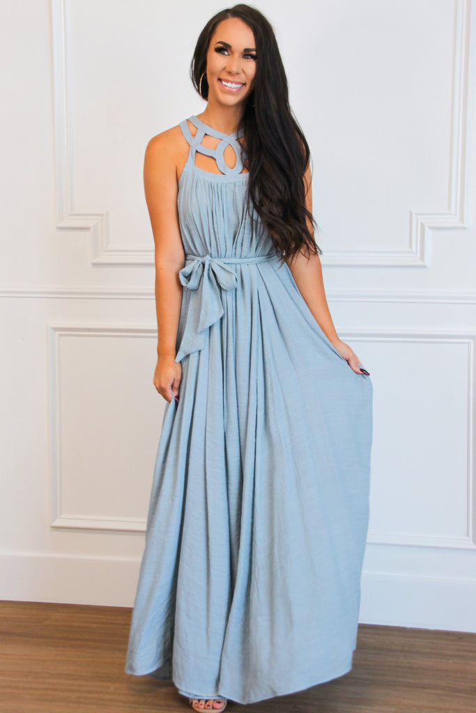 Need More Sun Maxi Dress: Dusty Blue - Bella and Bloom Boutique