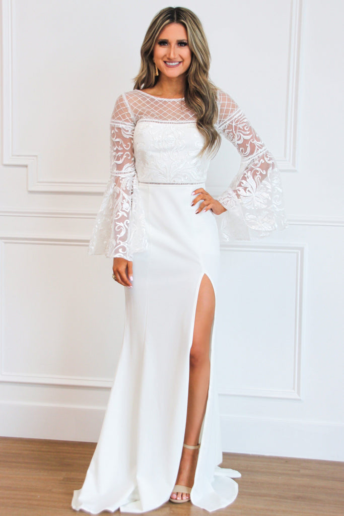 RESTOCK: Winter Bride Lace Maxi Dress: Ivory - Bella and Bloom Boutique