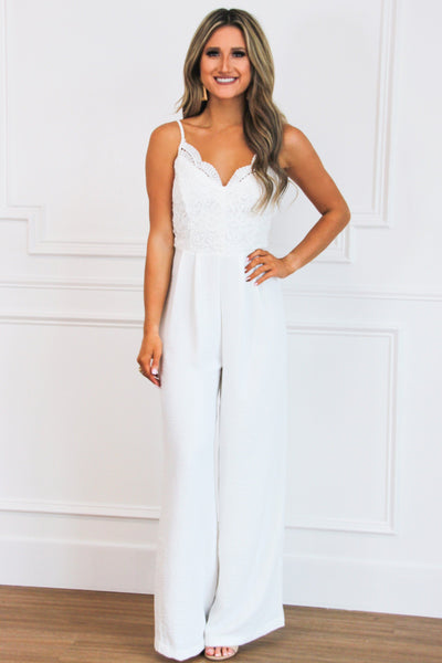PRE-ORDER: Lace Crush Jumpsuit: White - Bella and Bloom Boutique