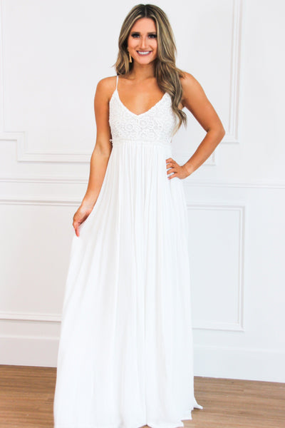 RESTOCK: Love Me Tender Maxi Dress: Off White - Bella and Bloom Boutique