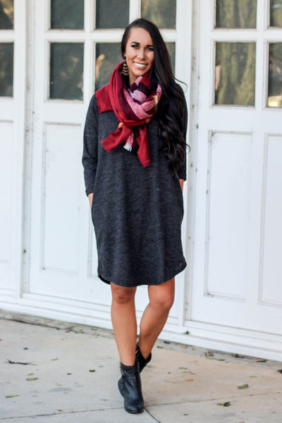 Cozy Affair Sweater Dress: Charcoal - Bella and Bloom Boutique