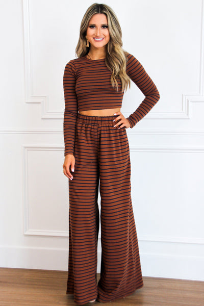 RESTOCK: Cozy Crush Two Piece Set: Cognac/Navy - Bella and Bloom Boutique