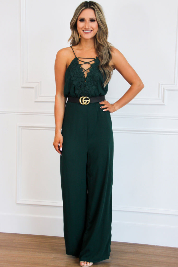Lace Me Up Jumpsuit: Hunter Green - Bella and Bloom Boutique
