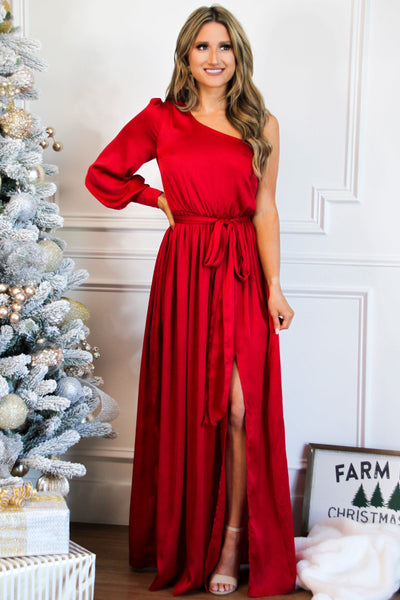 Regal Nights Maxi Dress: Crimson - Bella and Bloom Boutique