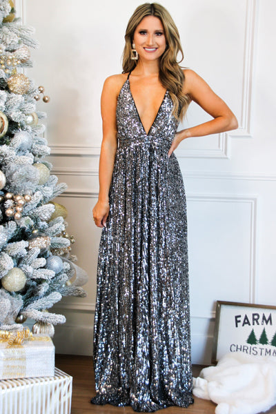 Star of the Show Sequin Maxi Dress: Black/Silver - Bella and Bloom Boutique