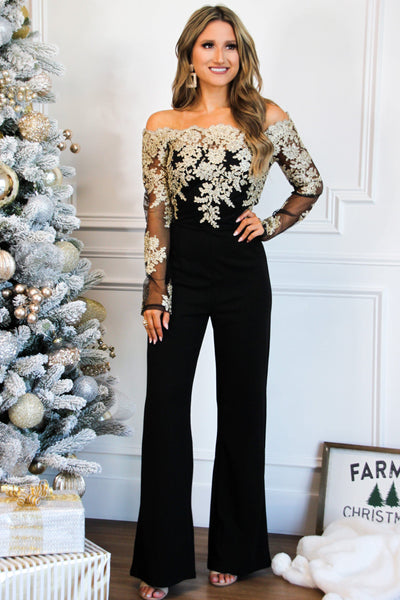 RESTOCK: Intricate Lace Jumpsuit: Black/Gold - Bella and Bloom Boutique