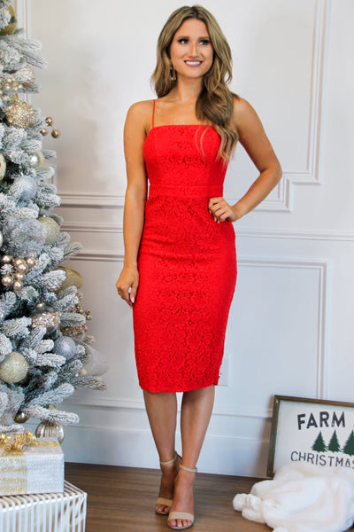 Lace Crush Midi Dress: Red - Bella and Bloom Boutique