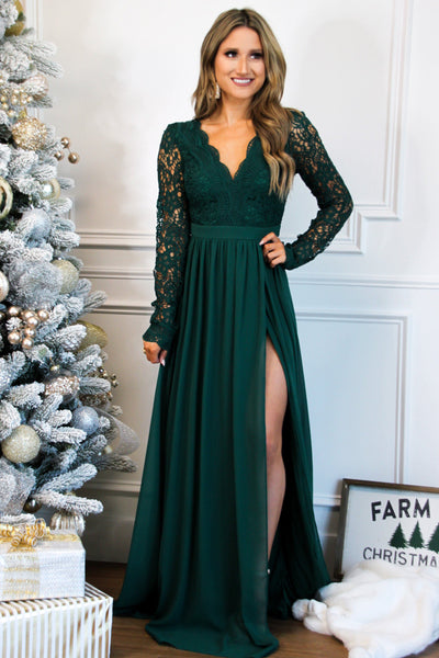 Winter Wonderland Lace Maxi Dress: Hunter Green - Bella and Bloom Boutique