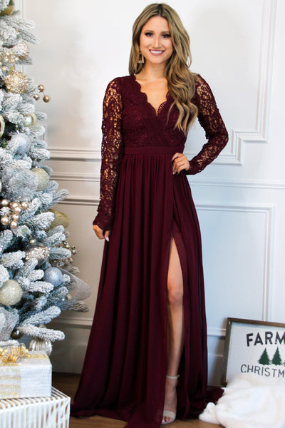 Winter Wonderland Lace Maxi Dress: Wine - Bella and Bloom Boutique