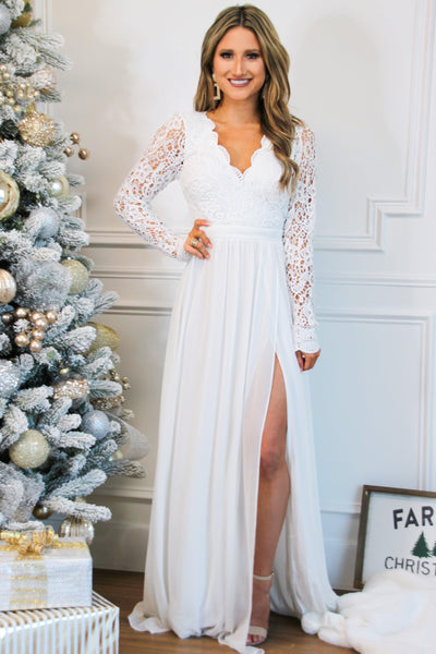 Winter Wonderland Lace Maxi Dress: White - Bella and Bloom Boutique