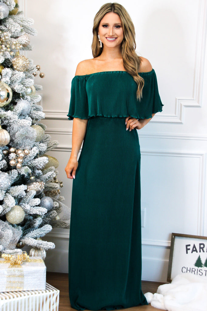 Want You Back Pleated Maxi Dress: Emerald - Bella and Bloom Boutique