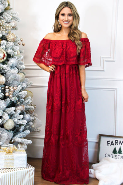 Ever After Lace Maxi Dress: Burgundy - Bella and Bloom Boutique
