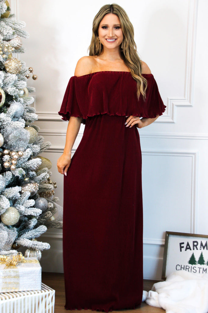 Want You Back Pleated Maxi Dress: Burgundy - Bella and Bloom Boutique