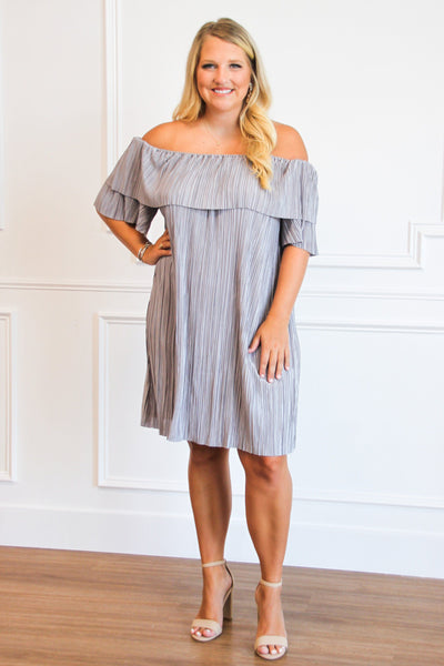 Pleated Beauty Dress: Silver - Bella and Bloom Boutique