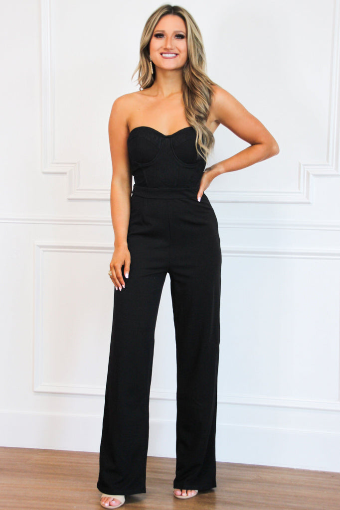 Night on the Town Bustier Jumpsuit: Black - Bella and Bloom Boutique