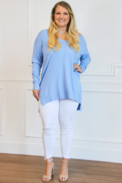 RESTOCK: Closet Essential Sweater: Periwinkle - Bella and Bloom Boutique