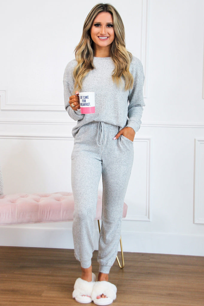 Cozy Vibes Jogger Two Piece Set: Heather Gray - Bella and Bloom Boutique