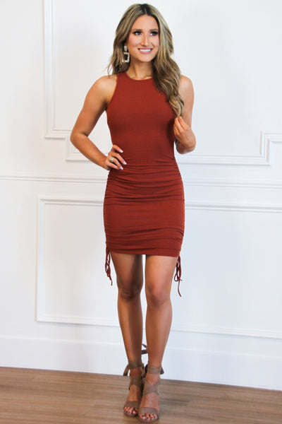 Ruched Tie Dress: Rust