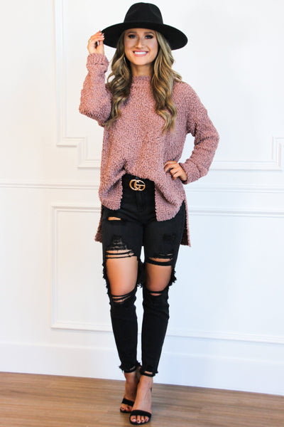 Heart of Fall Popcorn Sweater: Mauve - Bella and Bloom Boutique