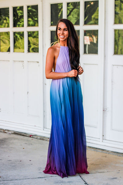 PRE-ORDER: Dream Girl Maxi Dress: Blue Ombré