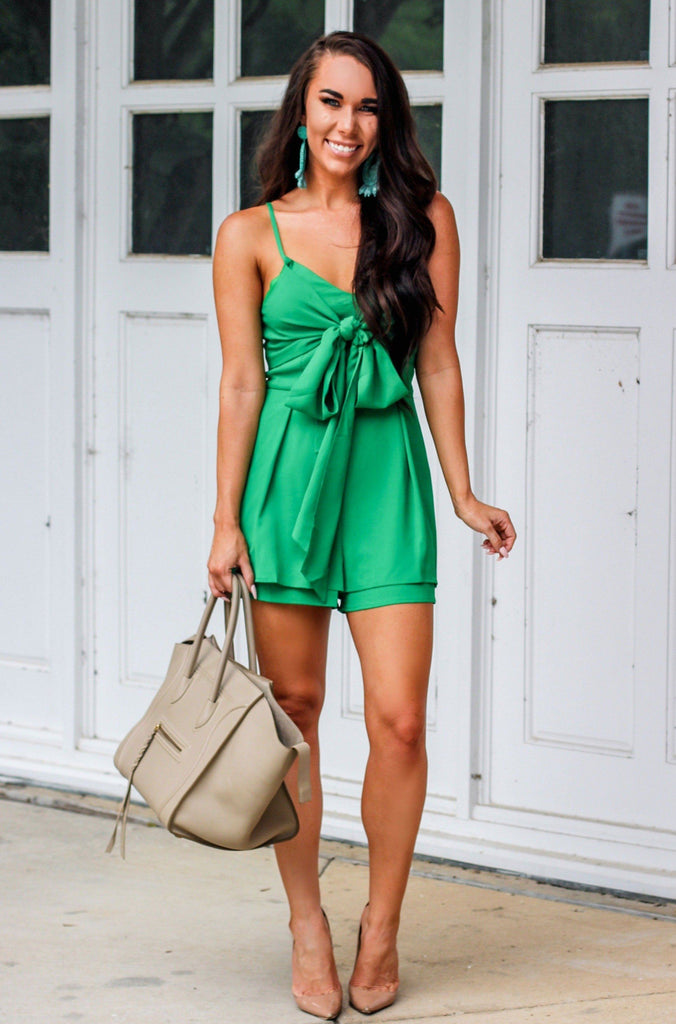 RESTOCK: Weekend Getaway Romper: Kelly Green - Bella and Bloom Boutique