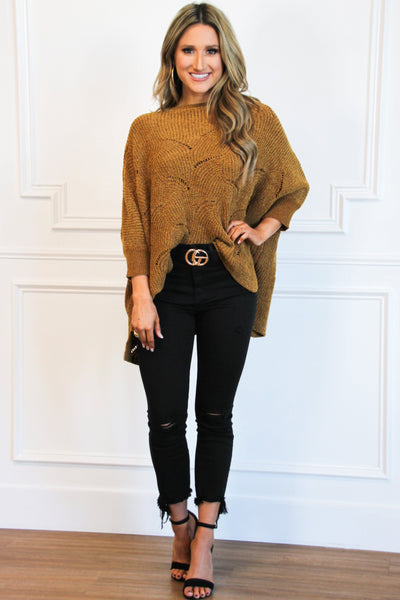 Victoria Chenille Sweater: Cognac - Bella and Bloom Boutique