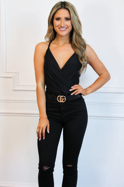 Cami Wrap Bodysuit: Black