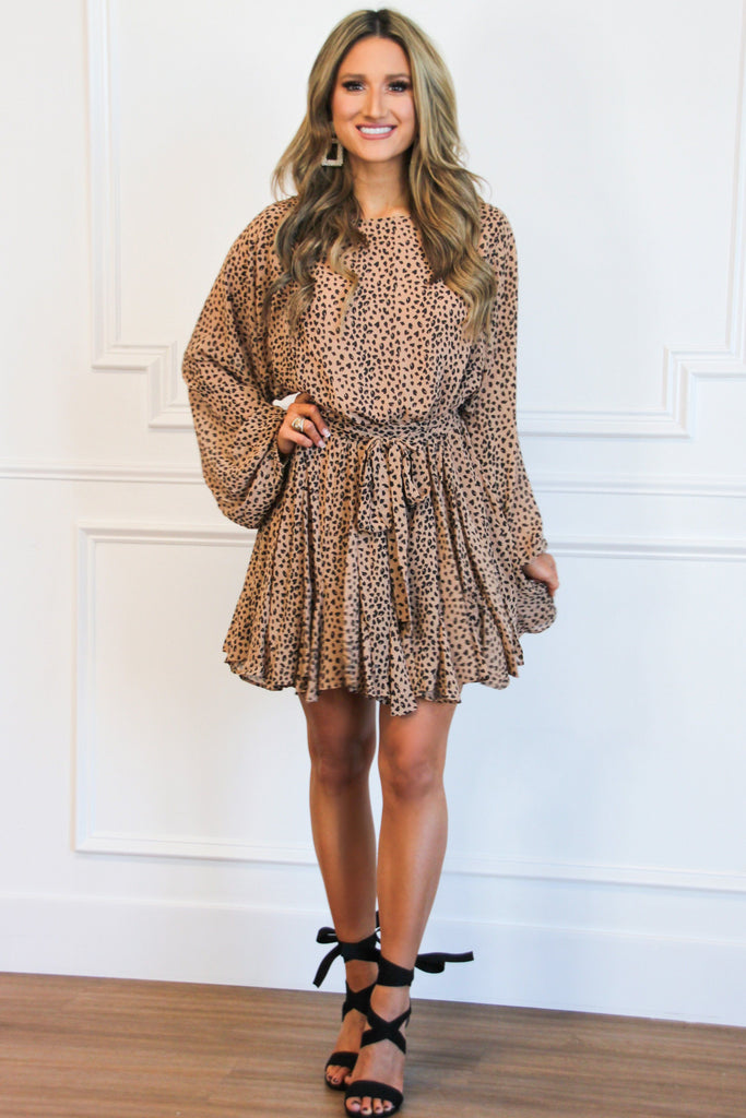 Brunch Babe Spotted Dress: Taupe/Black - Bella and Bloom Boutique