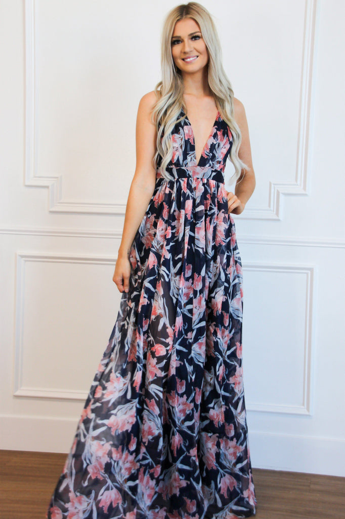 Floral Dream Maxi Dress: Navy Multi - Bella and Bloom Boutique