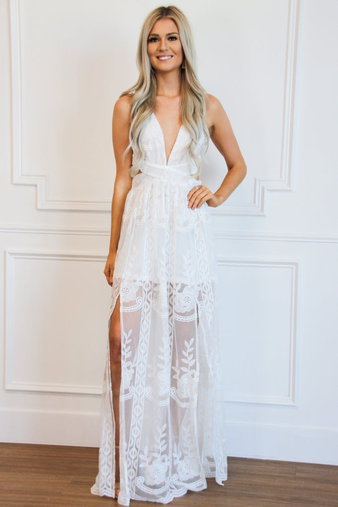 Love You Always Maxi Dress: White - Bella and Bloom Boutique